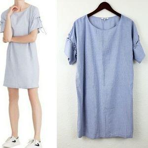 Madewell Striped Tunic Lace sleeve dress Medium
